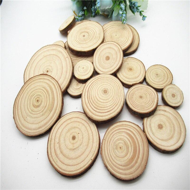 discos de madera con agujero 30 piezas perforados sin terminar Rodajas de madera natural con diamantes c/írculos de madera de 6 cm a 7 cm