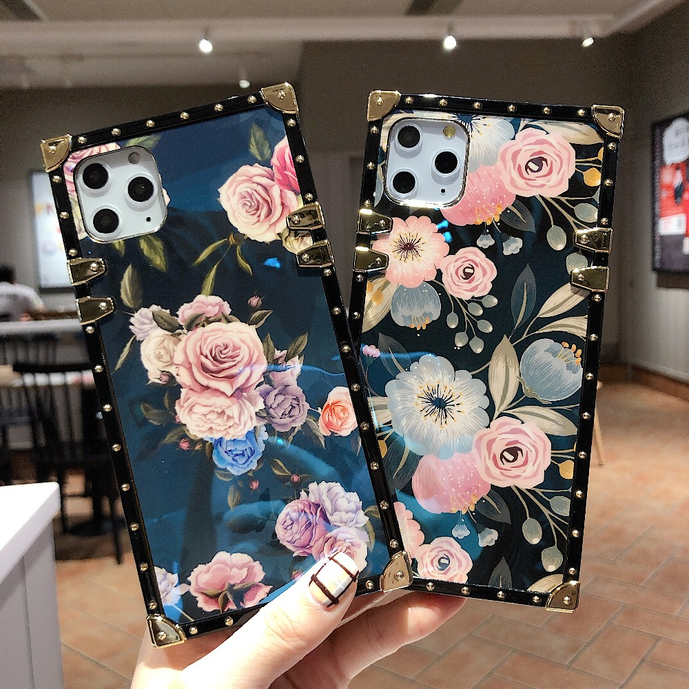 For Samsung Note10 Plus Note9 8 S10 Plus S10e S8 S9 A70 A50 A20 A30 M30 M20 Case Square Diamond Stand Blue Ray Rose Flower Cover (1)