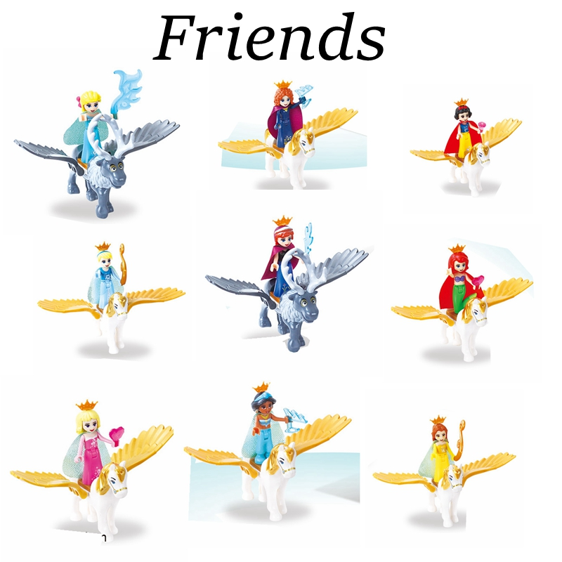 Legoing Friends Figures Princess with Flying Horse Toys Ariel Mermaid Cinderella White Snow Girls Bela Dolls Legoings Blocks Set