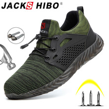 Jackshibo Boots Sneakers Work-Shoes Steel-Toe Safety Male Autumn Indestructible Breathable
