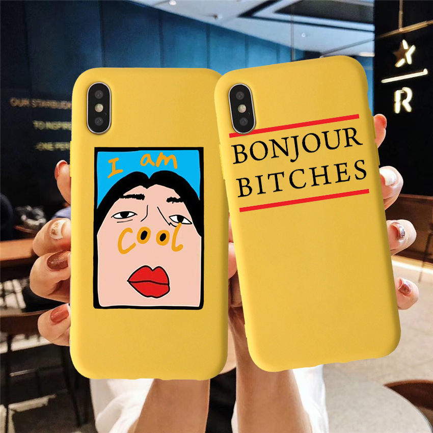 Graffiti Candy Color Back Cover Lovely Letter Quote Candy Color TPU Case phone For iphoneX 8 XS XR XSMAX I AM COOL CASE Cover