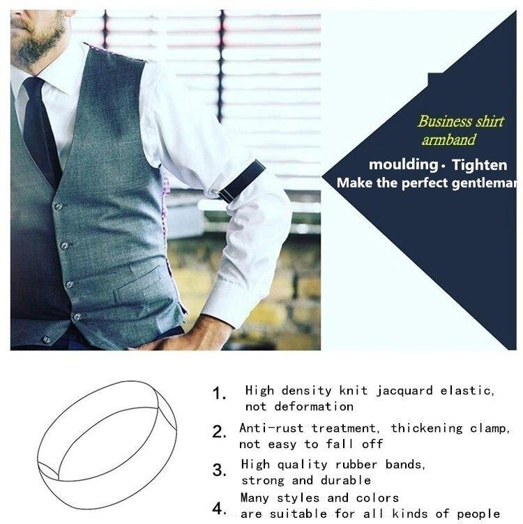 Men/'s Shirt Sleeve Armband Garter Elastic Cuff Holder with Strong Metal Clip