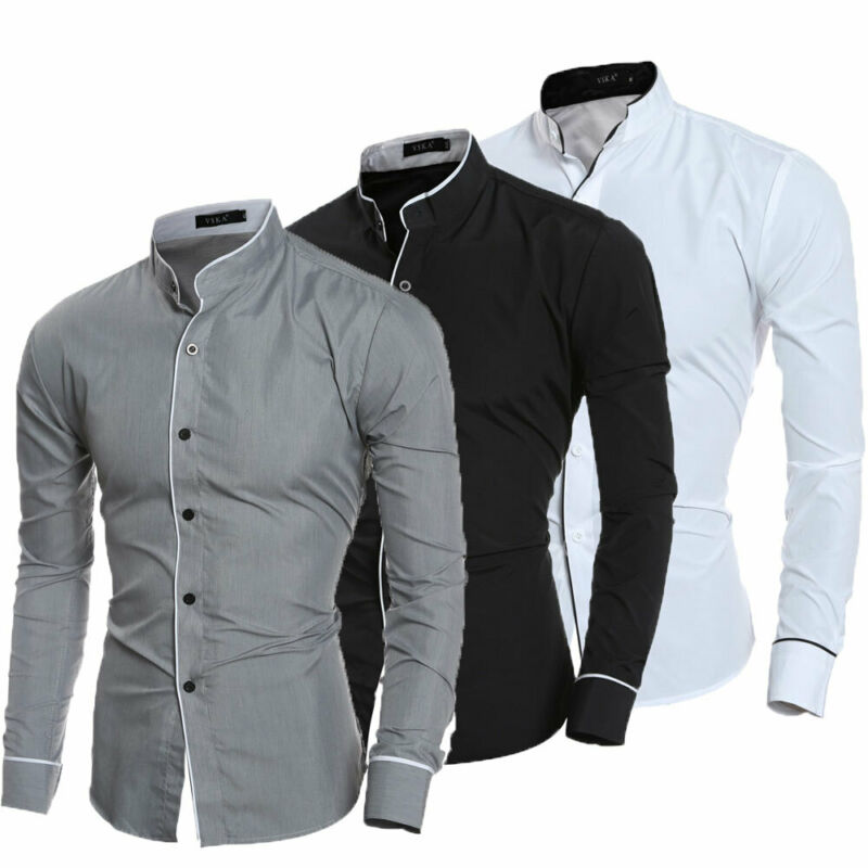 Formal Shirt Blouse Business-Dress Slim-Fit Social Long-Sleeve Casual Luxury Men's Tops title=