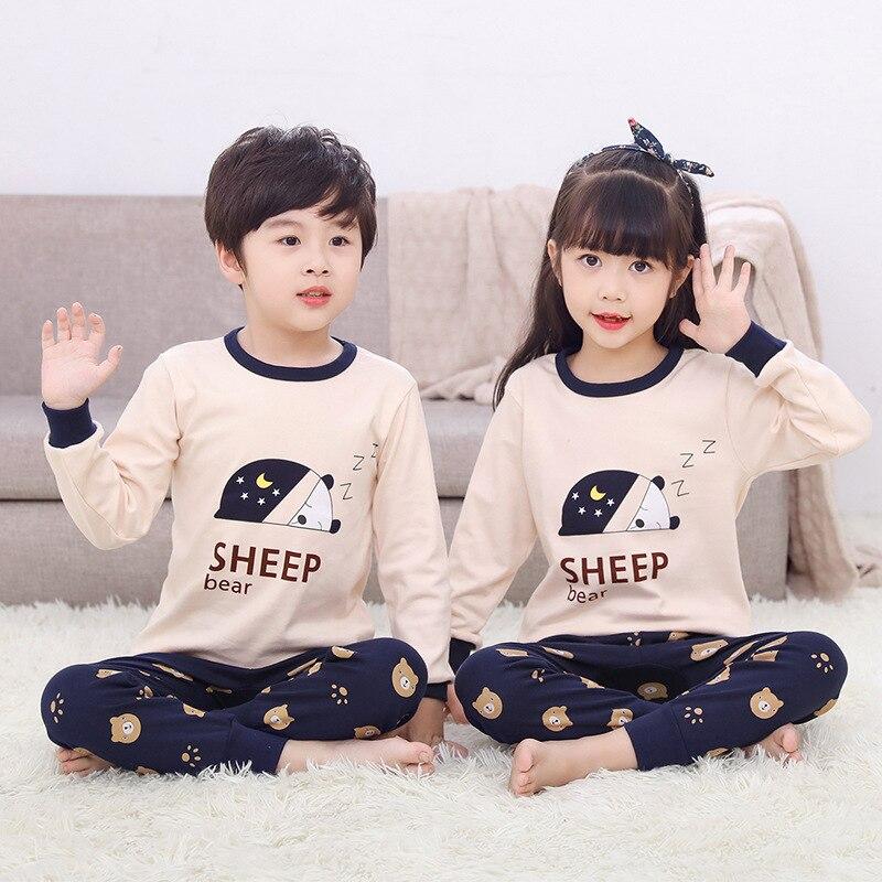 Children pajamas Long Sleeve 100% Cotton Pyjamas Kids Clothes Sets Cartoon Boys Sleepwear Nightwear Teenager Pajamas for girls