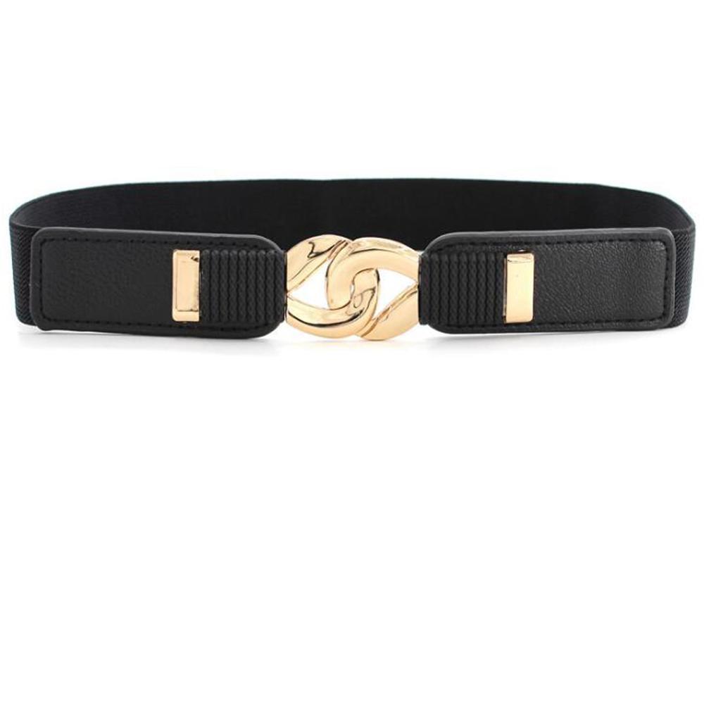 Círculo de oro de Moda cintura elástica delgada Faja Cinturón Correa Hebilla para Mujer