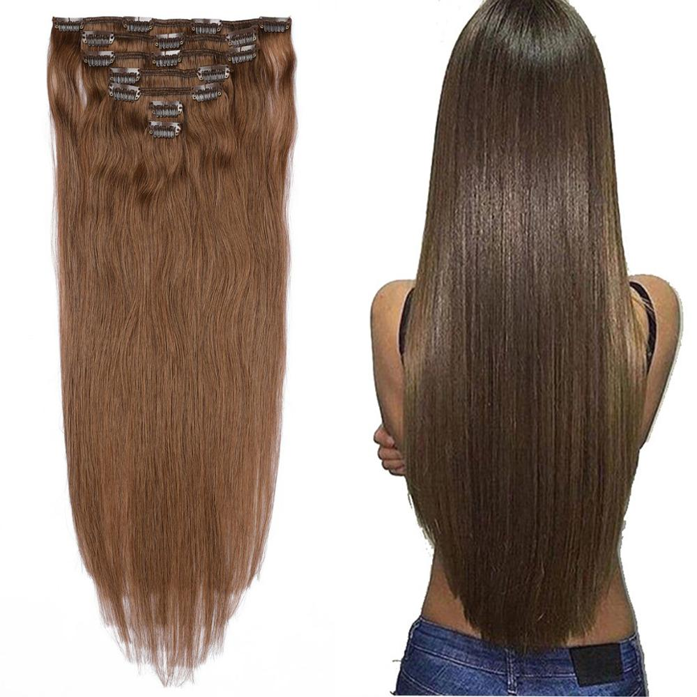 Hair-Extensions Clips Humen-Hair Blonde Straight Brown Long for Women Colored 7p/Set title=
