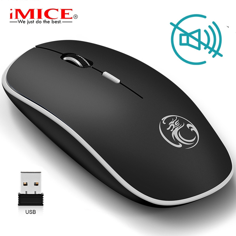 Silent Wireless Mouse PC Computer Mouse gamer Ergonomic Mouse Optical Noiseless USB Mice title=