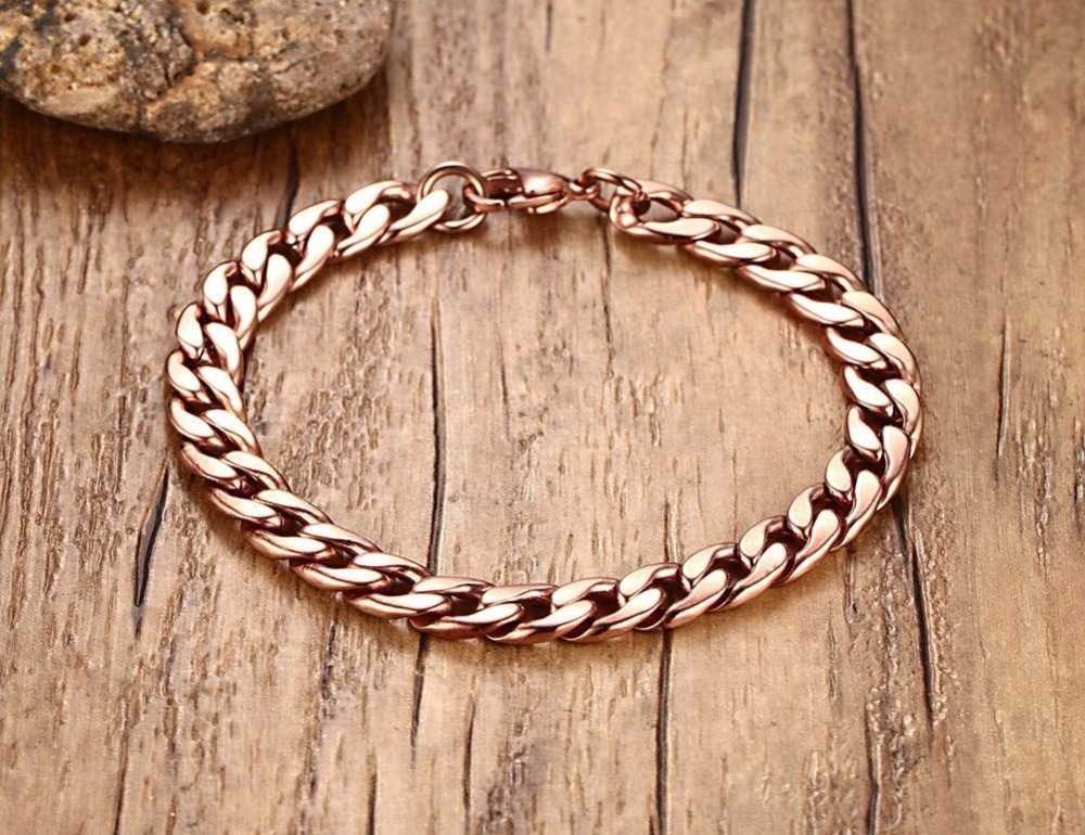 Mens Womens Bracelets in Rose Gold Best Stainless Steel Cuban Curb Link Chain Bracelet Men Fashion Jewerly Accessories Pulseira Masculina 12