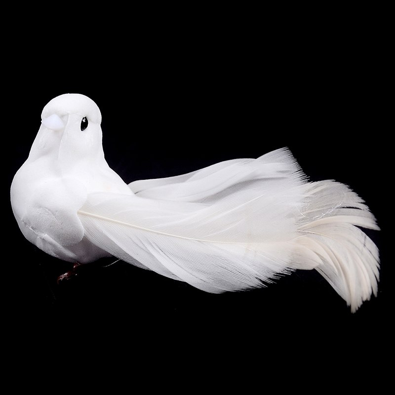 1Pc Wedding Decorative Doves Artificial Foam Feather Mini White Birds Craft Wedding Party Birds Decor Home Ornaments