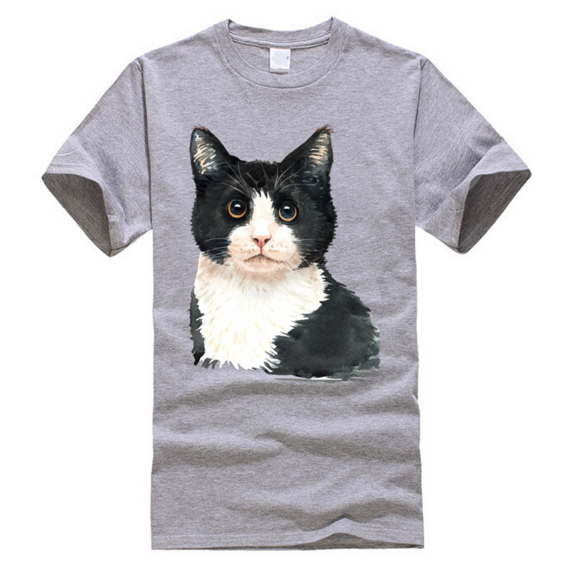 Cat_watercolor Dominant Cool Tops Shirts Crewneck Summer Cotton Fabric Short Sleeve T Shirt for Men Europe T-Shirt Cat_watercolor grey