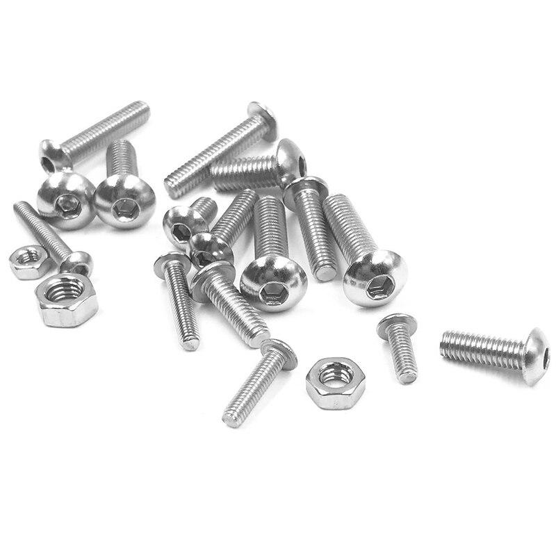 Stainless steel 500 Pcs M3 Kit de Tornillos de Cabeza de Bot/ón Cruzada de Metal con Caja de Pl/ástico