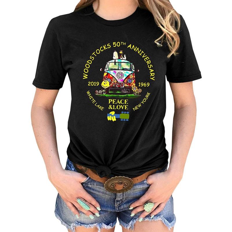 Woodstocks Music Vintage Shirt  50th Anniversary Tees PEACE & LOVE Women Short Sleeve O-neck Tshirt