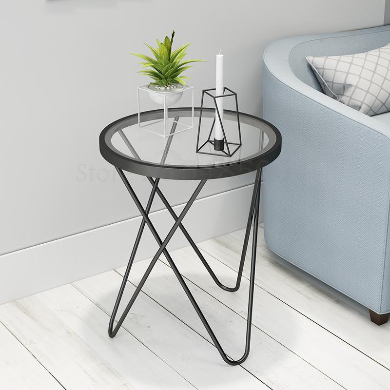 Nordic Living Room Sofa Corner Simple Modern Creative Glass Iron Coffee Table Golden Small Round Table Small Side Table