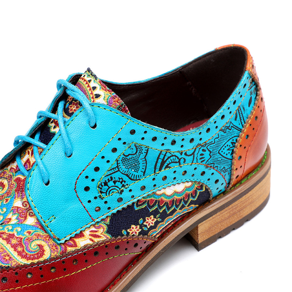 2020 New Spring Casual Women Brogues Shoes Handmade Genuine Leather Women Flats Oxfords Shoes Retro Carved Lace Up  Lady Oxfords (9)