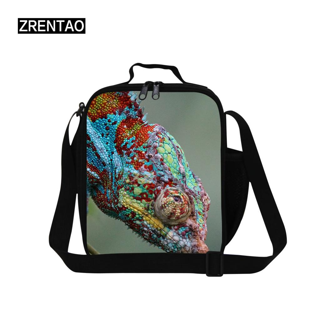 Personalized 3D Animal Green Lizard Print School Boys Girls Lunch Cooler Bag Shoulder Strap Lunchbox For Kindergarten Baby Gifts