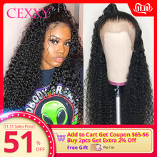 Wig Human-Hair-Wigs Lace-Frontal Curly Deep-Wave Black Women Brazilian for 30inch