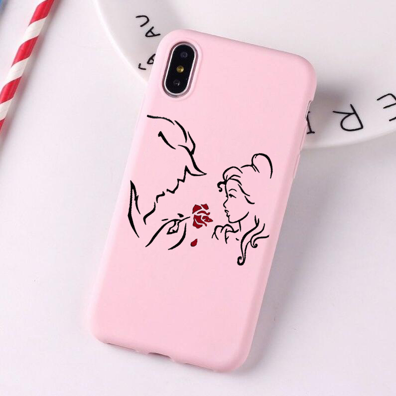 Beauty Beast Bishoujo Kissing Mickey Minnie Mouse Candy Color Case phone For iphoneX 8 XS XR XSM Pink Yellow Cover