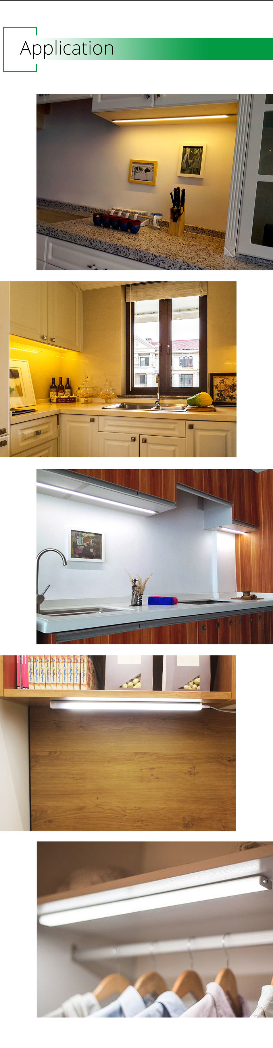 30CM 50CM 80CM 100CM Under Cabinet Led Light Kitchen Cabinet Closet Lamps home Decoration Bookcase Strip Wardrobe Dimmable Wardrobe (4)