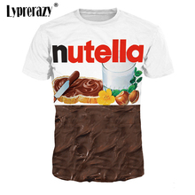 Tops T-Shirts Short-Sleeve Nutella Print Lyprerazy Unisex Tees 3d-Design Casual Men/women