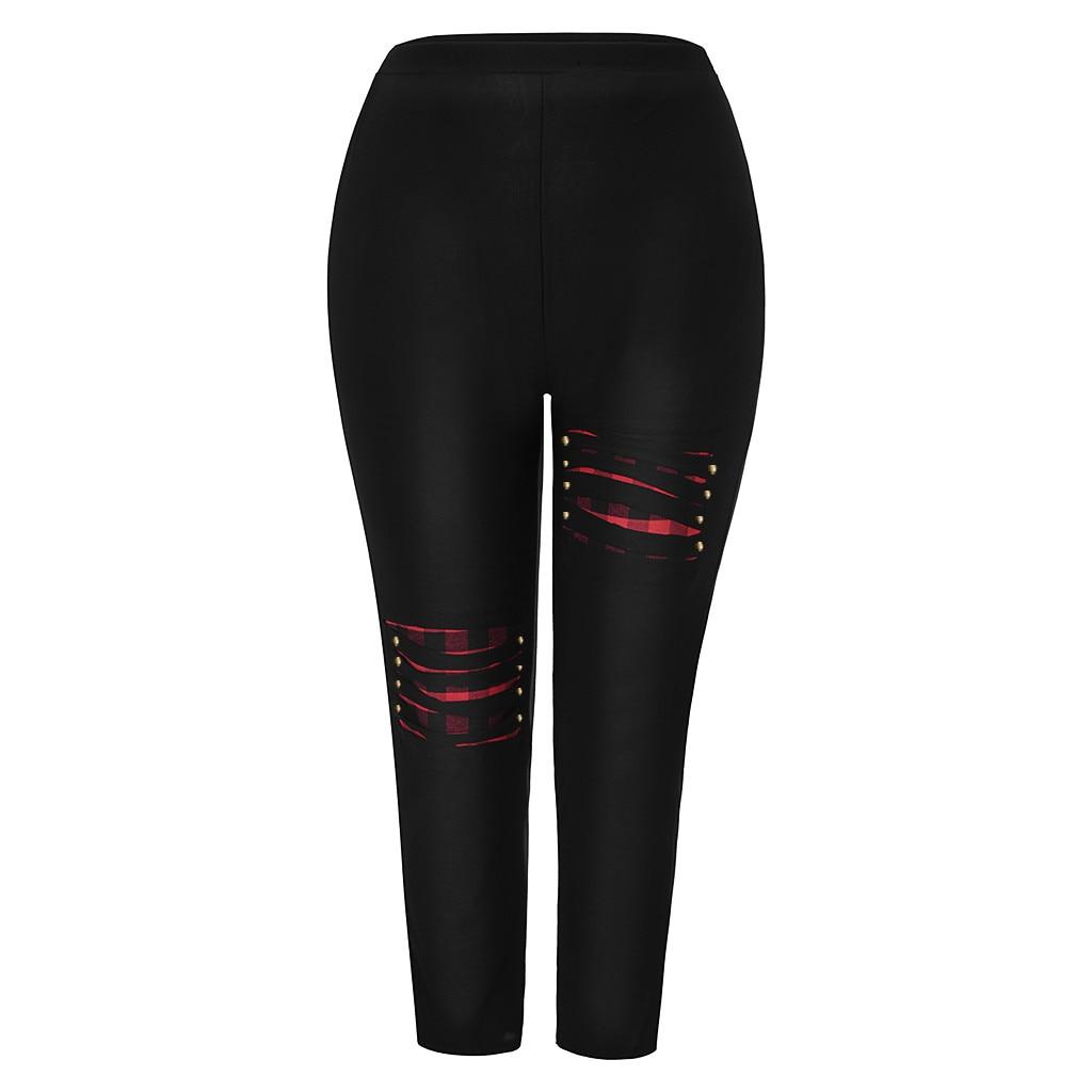 Jaycosin New Fashion Ladies Casual Beading Jeans Stretch Elastic tension Plaid Thin Female Soft Loose High Waist Leggings 10#4