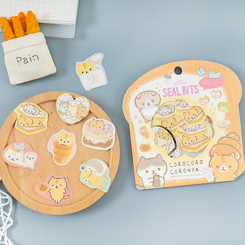 Cute Bread Cat Shark Whale Decorative Washi Stickers bag Scrapbooking Stick Label Diary Stationery Album Stickers