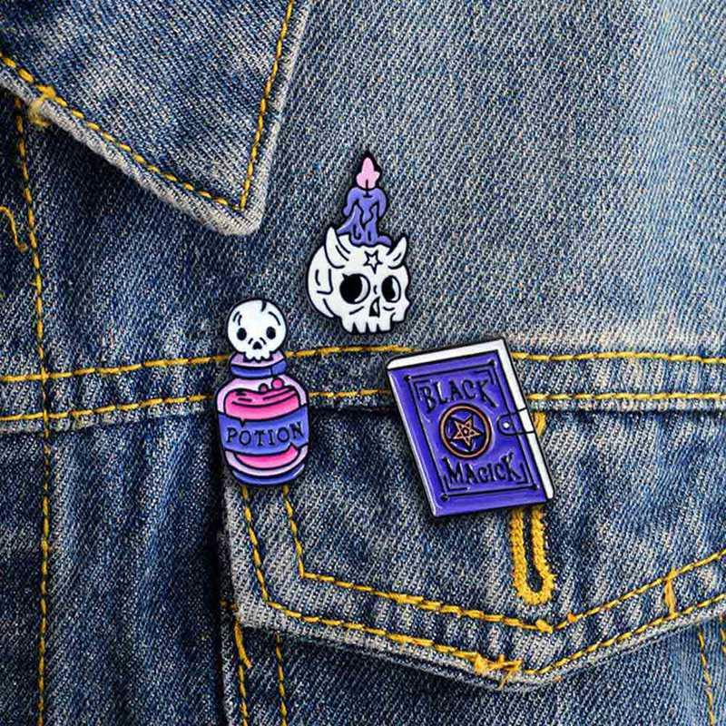 Colour Poison Bottle Enamel Pin Jacket Backpack Potion Witch Halloween Lapel