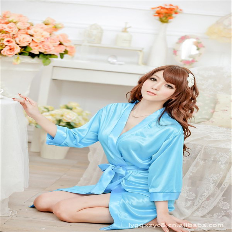 SONDR Women's Faux Silk Robe Nightgown Sexy Ladies Lace Patchwork Nightwear Sleepwear Robe Female Lingerie Underwear женский