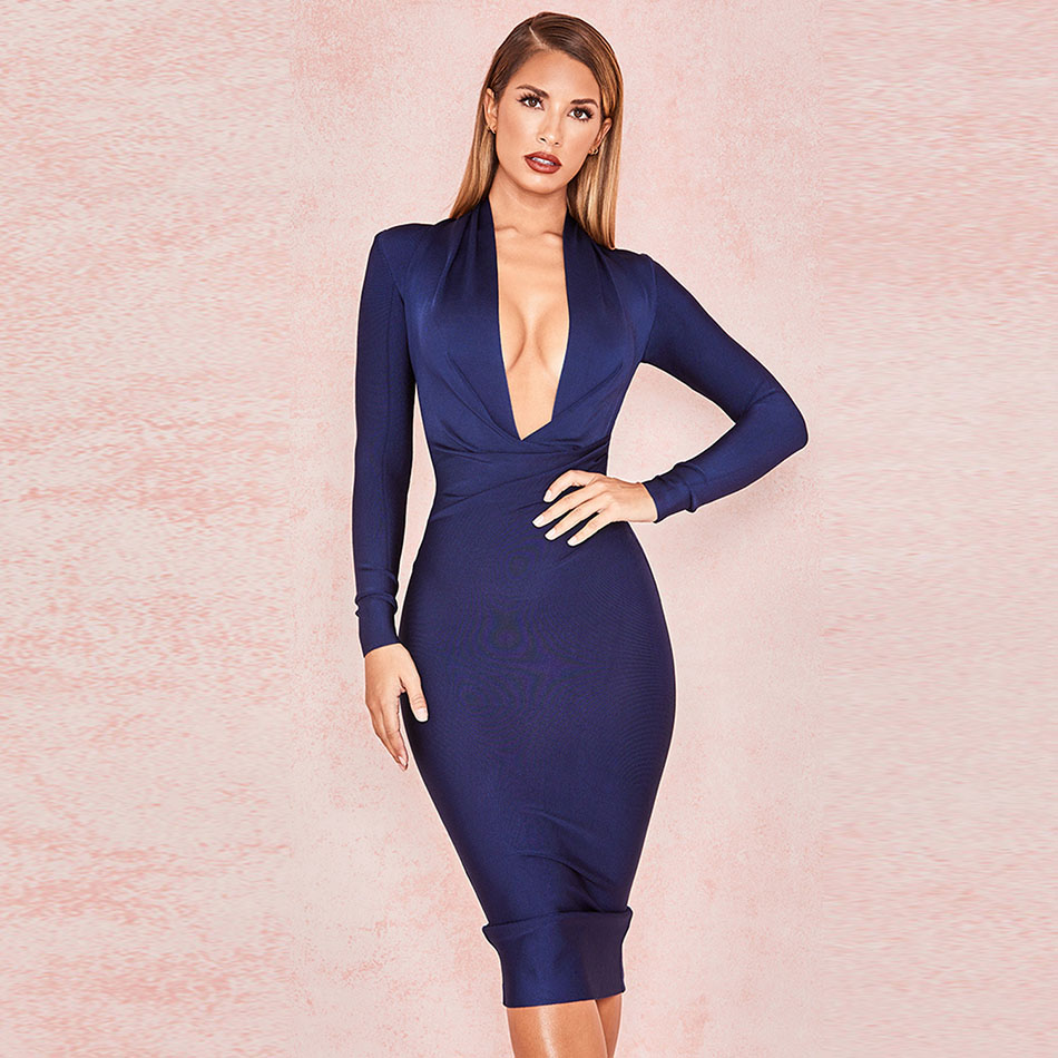 2020 Fashion Woman Bandage Dress Women Long Sleeve Deep V Neck Sexy Night Club Celebrity Evening Party Bodycon Dress Vestidos