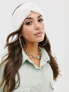 Molans Women's Headband Mink-Cashmere Knot Handmade Fluffy Winter Simple Autumn Solid