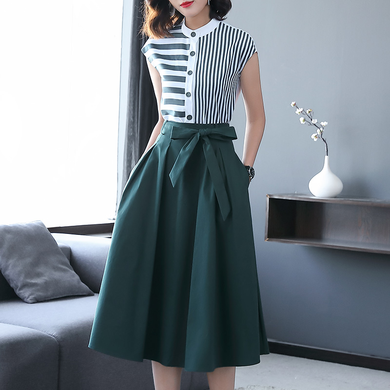 Midi Skirt Blouses Shirts Suit-Sets Two-Piece-Set Business Office Female Formal Casual-Striped title=