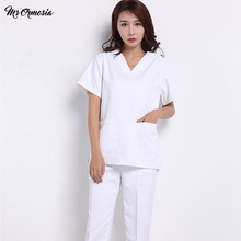 Nursing-Uniform Overalls Beauty Salon Pet-Shop Cotton Fashion Solid-Color Slim-Fit