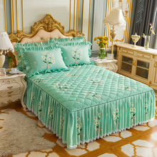 Bedspread Bed-Skirts Bedcover King-Size Cotton Pillowcase Queen Print Home for with 3pcs