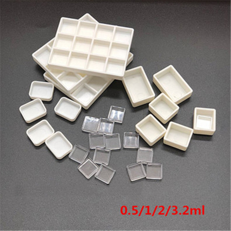 50Pcs Empty White Plastic Watercolor Paint Pans Half Pans Storage Palettes
