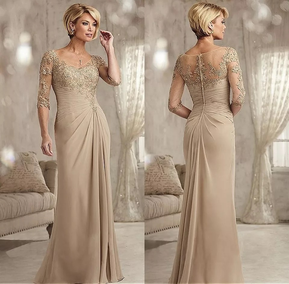 Dresses Mother-Of-The-Bride Beaded Champagne Lace Chiffon Wedding Plus-Size Groom Half title=