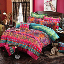 Bohemian Cotton 3d Comforter Bedding Sets Luxury Boho Duvet Cover Set Pillowcase Queen King Size Bedlinen Bedspread(China)