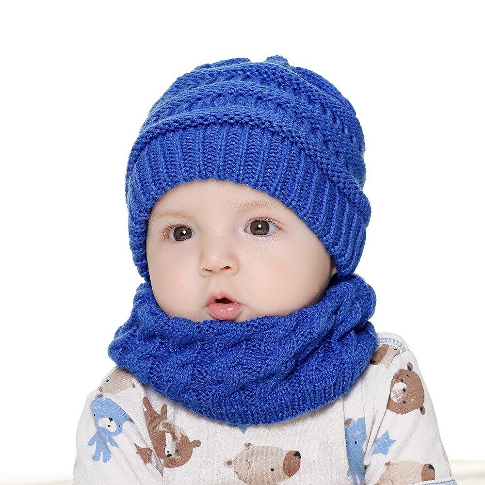 Bébé Hiver Bébé Enfants Chaud Chapeau Filles Tricoté Beanie Cap avec étiré Wrap