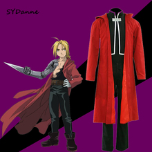 Cosplay Costume Edward Elric Alchemist Full-Metal Hooded-Coat Anime Custom-Made