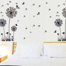 Window Home Decoration Bedroom Butterflies PVC Mildew Proof Wall Sticker Removable Living Room Mural Black Dandelion Background(China)