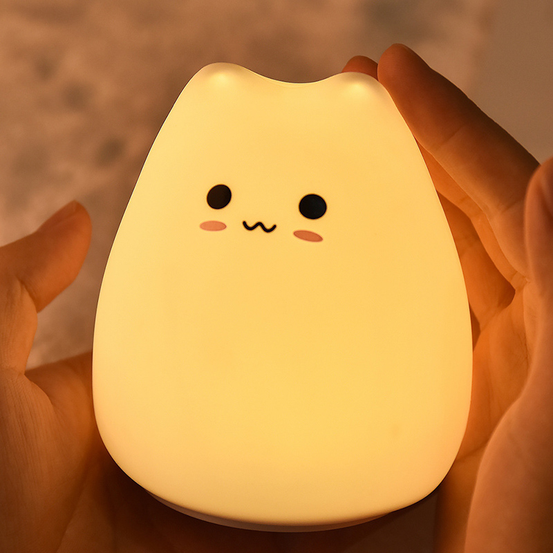 Cute LED Night Light Silicone Touch Sensor 7 Colors Cat Night Lamp Kids Baby Bedroom Desktop Decor Battery/USB Charge-02