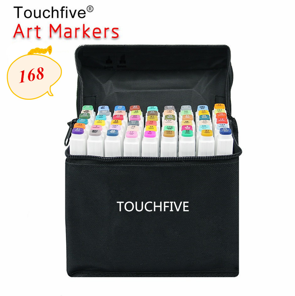 Touchfive Pen Painting Alcohol-Based-Markers Art-Supplies 168-Colors Optional School title=