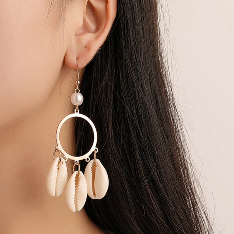 Trendy Shell Earring for Women Circle Statement Drop Earrings Exaggerated Tassel Bohemian