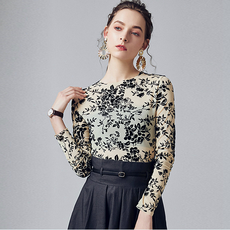 Hollow Flocking Fabric Pullover Women 2 Colors Vintage Style Basic Clothing O Neck Long Sleeves Waist Casual Top New Fashion