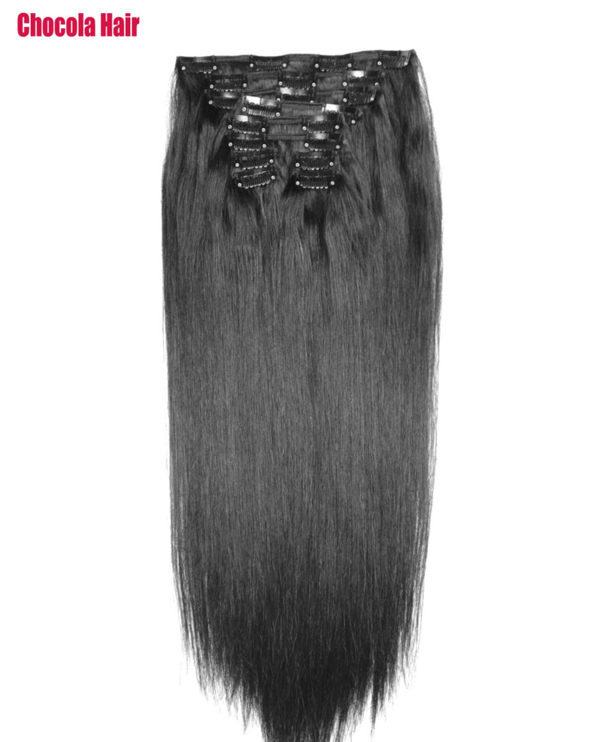 Human-Hair-Extensions Clip-In Natural Remy-Hair Straight Brazilian Set 260g 10pcs 16-28-Machine-Made title=
