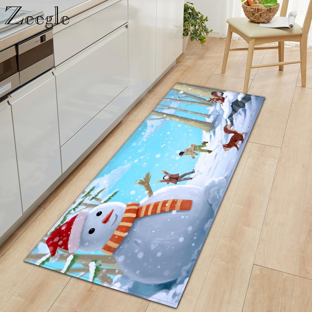 Zeegle Carpet Anti-slip Kitchen Rug Living Room Carpet Hallway Floor Mat Absorbent Bathroom Doormat Soft Bedside Carpet Mat