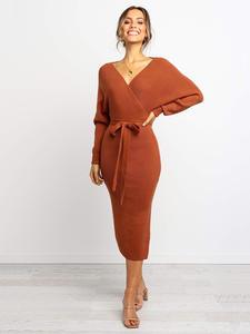 Abardsion Autumn Dresses BELTED Tunic Knitted-Sweater Vestidos Long-Sleeve Split Midi