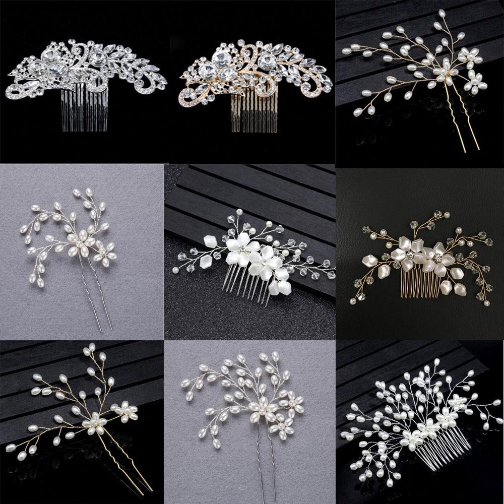 Bridal Wedding Crystal Rhinestone Pearl Hair Combs Hairpins Hair Accessories