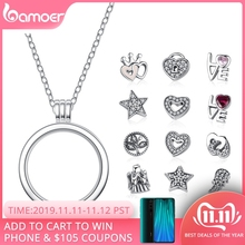 BAMOER Pendants Jewelry Locket Necklaces Floating Petite Memories Sterling-Silver Genuine