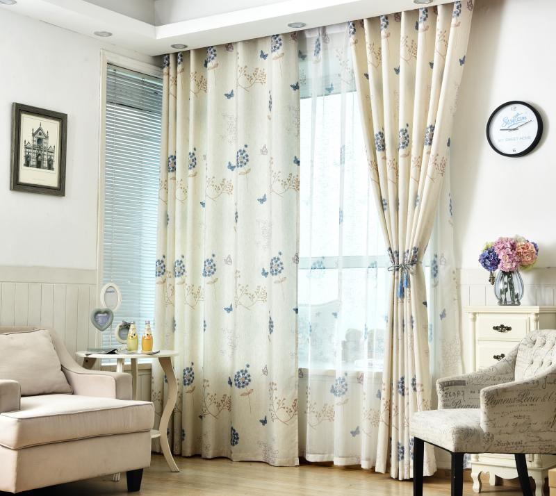 Modern Simple Rural Small Fresh Cotton,  and Taraxacum Shade Curtains for Living Dining Room Bedroom.