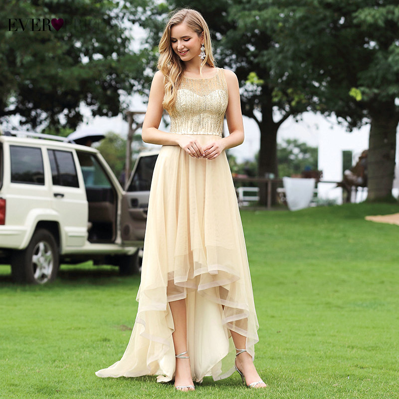 Short Front Long Back Dress Elegant Ever Pretty EP00412GD New Fashion A Line O Neck Sleeveless Glitter Prom Dresses For Party