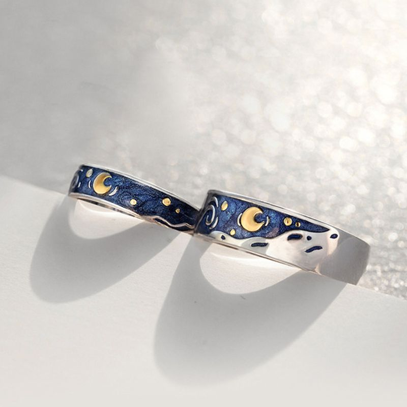 S925 Silver Van Gogh Starry Sky Open Lover Rings Band Romantic Couple Jewelry Ring title=